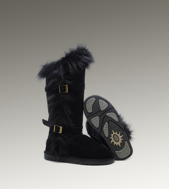 UGG Fox Fur Tall 1984 Black Boots